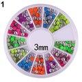 Горячая мода 6 цвета 2 - 3 мм неон заклепки круглый металлический стад горный хрусталь ногтей DIY украшения-бесплатная