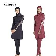 XREOUGA Muslim Swimwear Islamic Swimsuits Covered Swimsuits Long Sleeve Beach Wear Plus Size S-4XL Free Shipping MS12