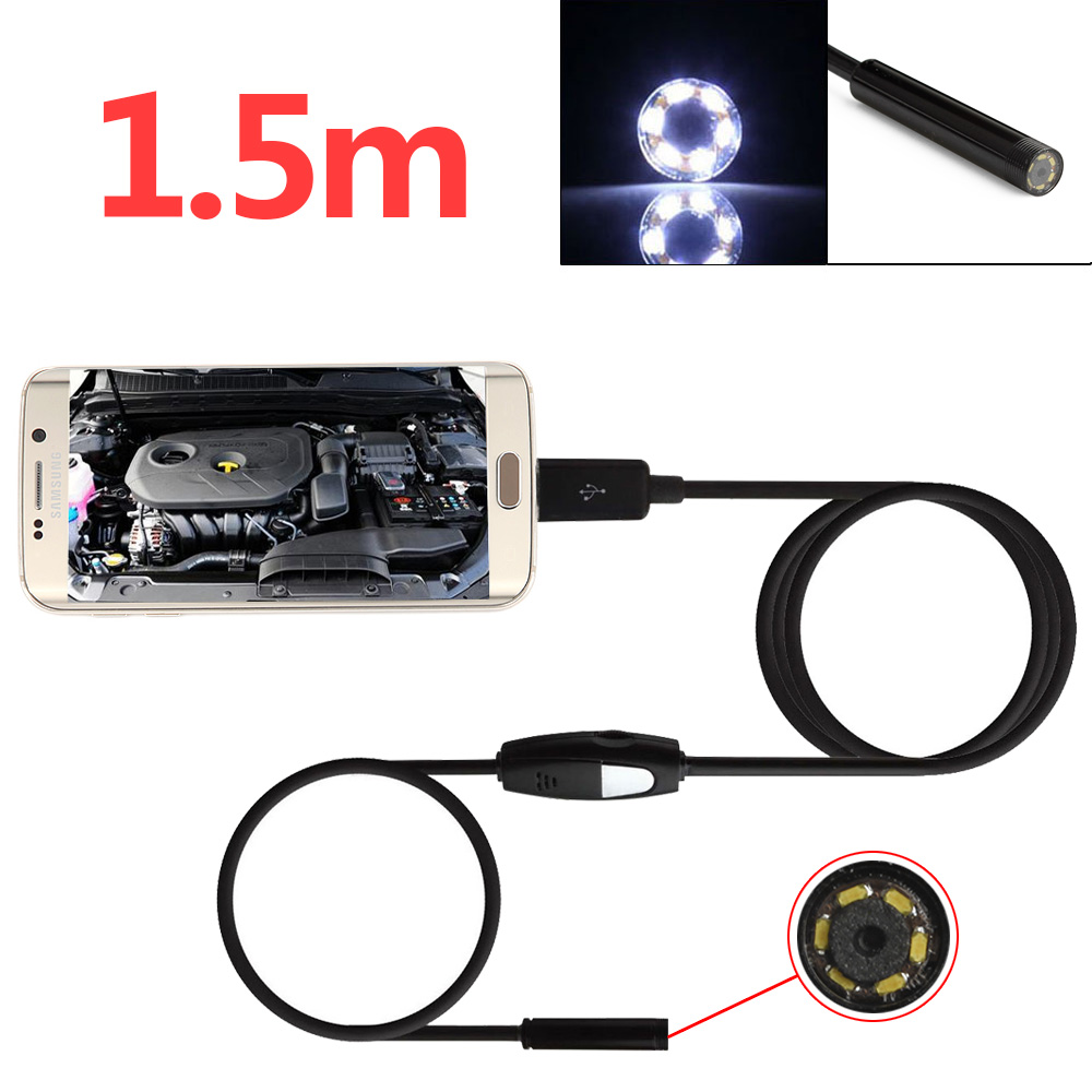 1.5m/4.9ft 6 LEDs 5.5mm 720P Endoscope Waterproof Snake Borescope Micro USB Inspection Video Camera for Android & PC 7mm lens mini usb android endoscope camera waterproof snake tube 2m inspection micro usb borescope android phone endoskop camera