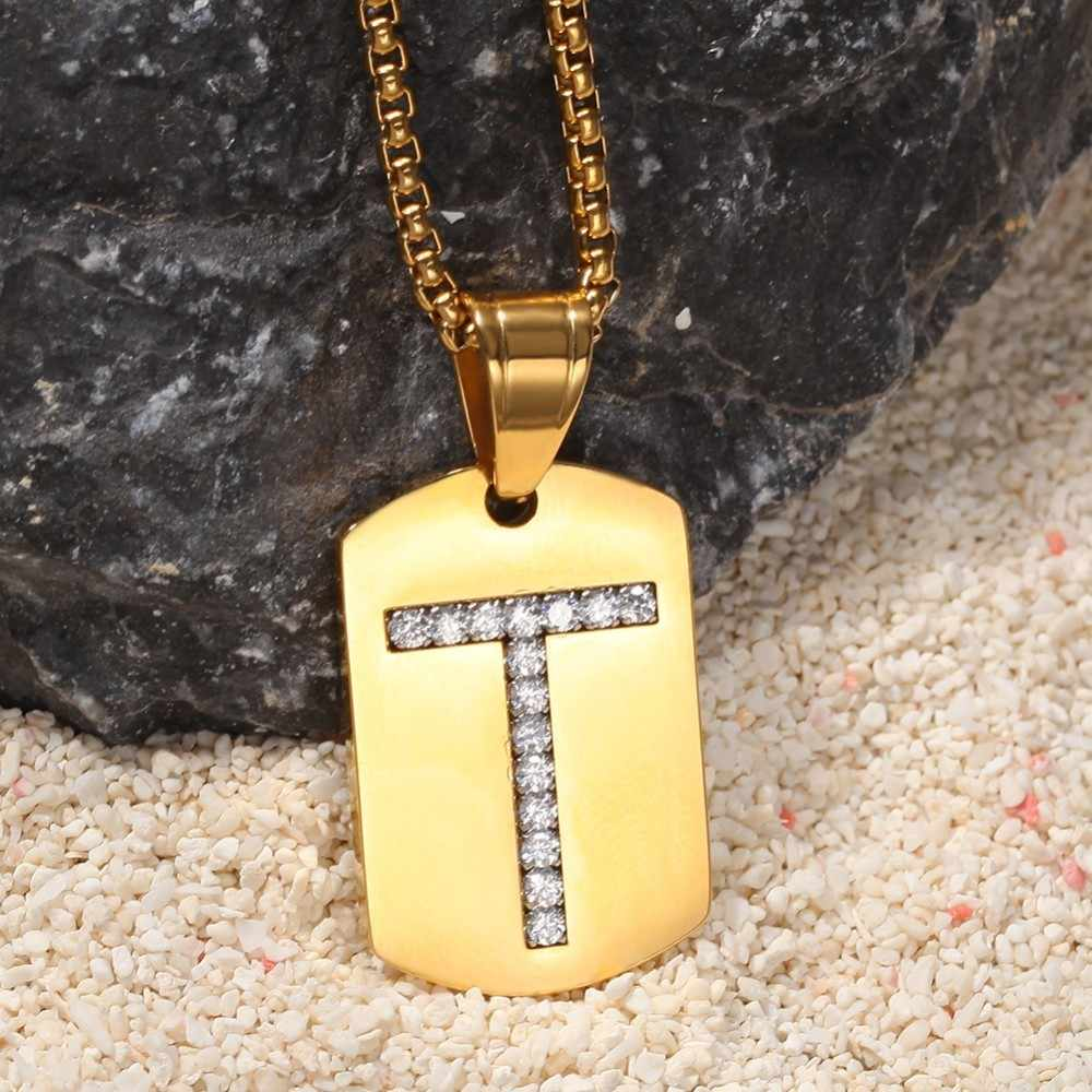 UWIN ทองสีตัวอักษร T/E/F: จี้ Rhinestones สร้อยคอตัวอักษร Mens แฟชั่น Hiphop สแตนเลสเครื่องประดับ