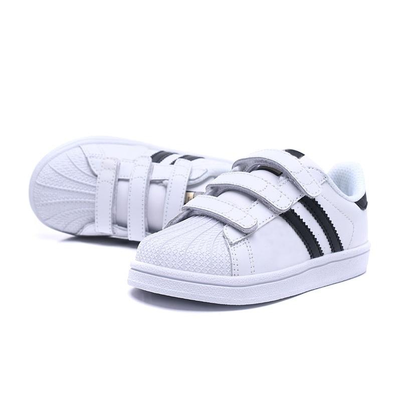Supply Fashion Striped Kids Shoes Hook&loop Boys Girls Skateboarding Shoes Children Shoes Rubber Bottom