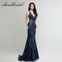 Navy Blue Mermaid Evening Dress With Beading Back Sexy V Neck Sweep Train Vestido De Festa