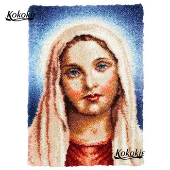 diy latch hook kits rug tapestry kits 3d printed canvas Madonna Handmade crochet tapis needle for carpet handwerken knooppakket