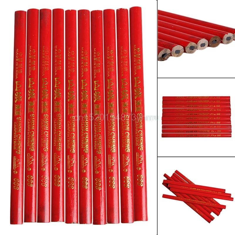 10Pcs 175mm Standard Carpenters Pencils Wood Black Carpenter Pencil Woodworking Elliptical pencil YX# #L057# new hot