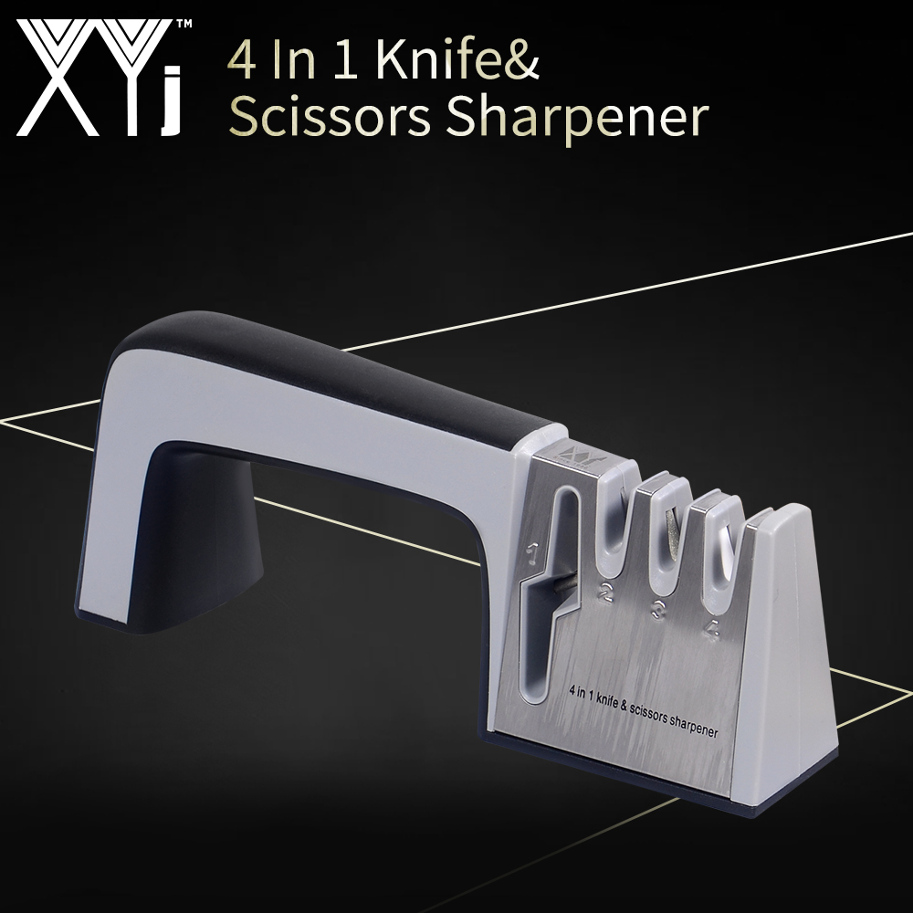 XYj 4 in 1 Scissor Knife Professional Sharpener Tools Grey Sharpening Stone Non-slip Handle Kitchen Gadgets Household Accessory(China)
