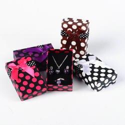 12 шт. прямоугольные картонные коробочка для украшений, ожерелья Держатель для сережек губка внутри с бантом смешанного цвета, 80x50x27 мм