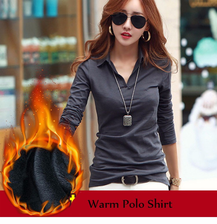 Winter Warm Casual Polo Women 2016 Long Sleeve Slim Polos Mujer Black White Gray Red Autumn Tops Plus Size Polo Shirt Femme A728 m