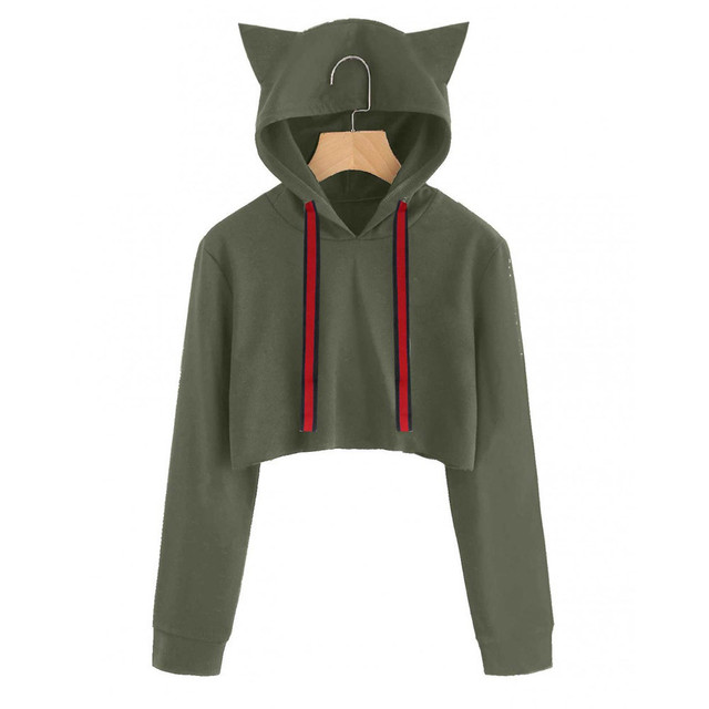 74c5be737d3 Womens Cute cartoon Cat ears Hoddies solid Red cap Long Sleeve short Hoodie  Sweatshirt Hooded Crop Tops busos para mujer
