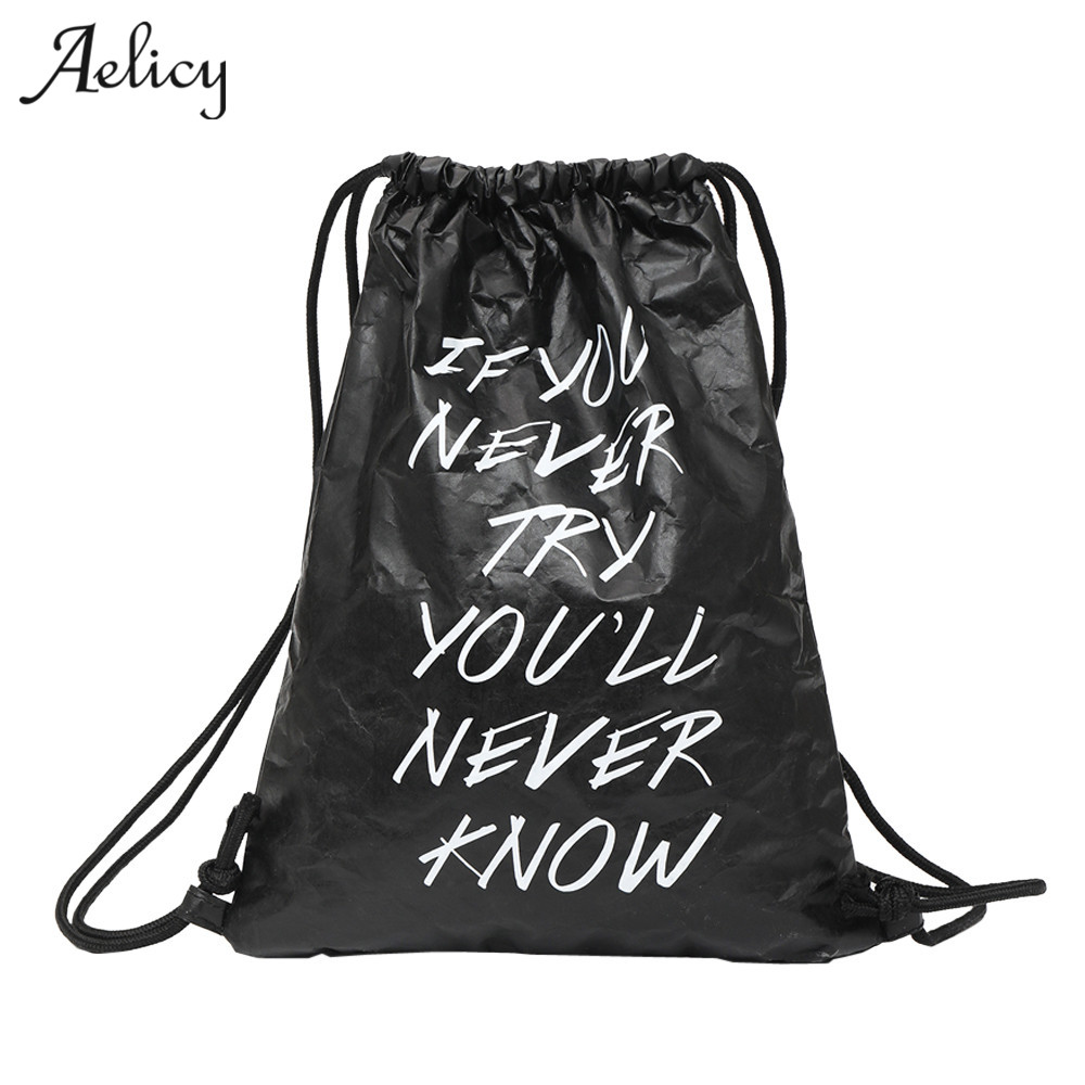 Aelicy Neutral Letter kraftpaper Bag Water Repellent Backpack Tote Fashion Cute Student Travel Drawstring Bags Unisex BolosAelicy Neutral Letter kraftpaper Bag Water Repellent Backpack Tote Fashion Cute Student Travel Drawstring Bags Unisex Bolos