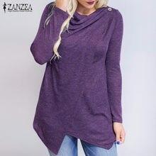 Zanzea mujer cardigan 2018 otoño Tops abrigo manga larga o Masajeadores de  cuello flojo ocasional femenino Blusas Camisas sólido. 788d9f30e9c0