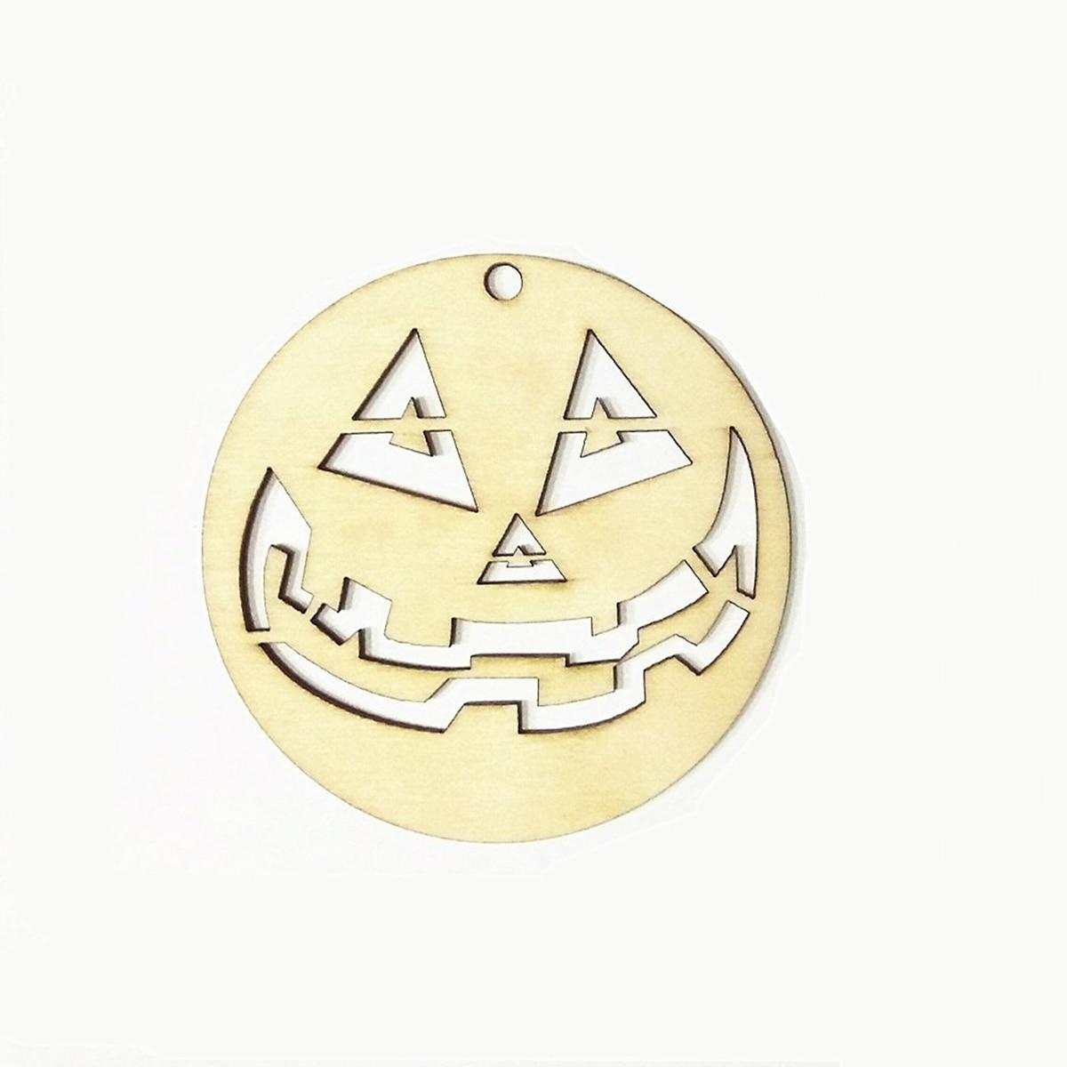 unids madera etiquetas redondas cara divertida forma artesanal de halloween suspensin formas etiqueta de regalo