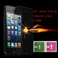 0.26mm Tempered Glass for iPhone 5/5s/5c 9H Hard 2.5D Arc Edge Round Border Front Screen Protector with Clean Tools
