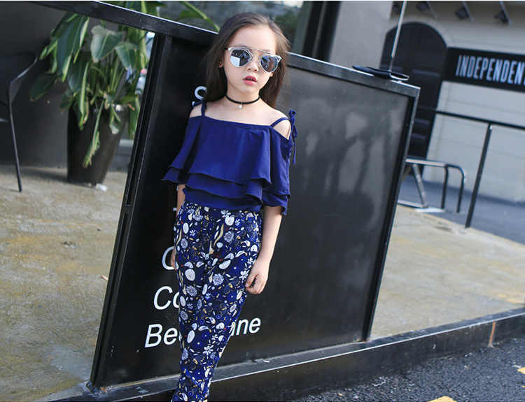 aaf99d44caf0ae ... Girls Set Clothes Kids Fashion Top Pant Two Piece Children Summer Suit  Girls Boutique Outfits 7