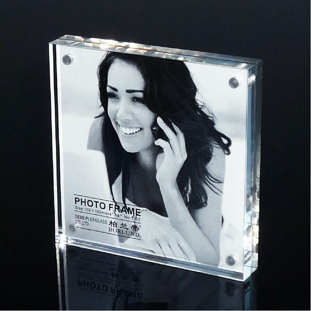 Free Shipping 3inch Square Acrylic Magnetic Photo Frame 3 Photo