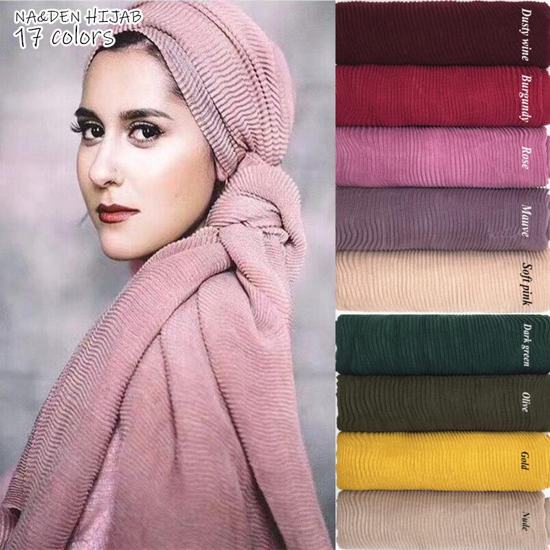 20pcs Packing Wrinkle Scarf Long Size Plain Hijab Pleated Design