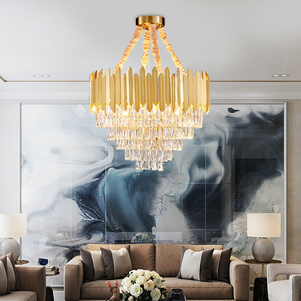 Post-modern LED Crystal Chandelier Luxury Round Bedroom Lamp Living Room Stainless Steel Large Crystal  2