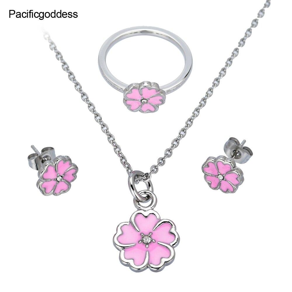 Aufrichtig Rot Farbe Blume Ohrringe Halskette Und Ringe Set