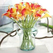 10pcs/lot Artificial Calla Lily PU Real Touch Bride Bouquet Flower Home Party Wedding Decor Flowers Wreaths 10 Colors Mix Color pu real touch artificial calla flower bonsai