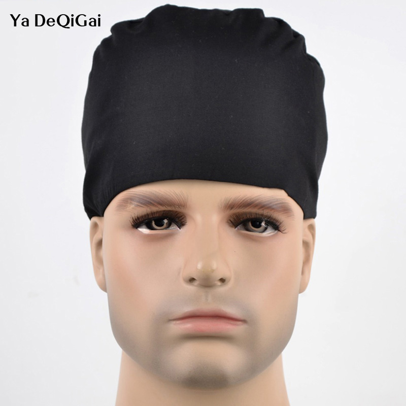 IF New Operating Room Hat And Surgical Caps For Men And Women With Sweatband Cotton Pet Doctor Hats Medical Caps White