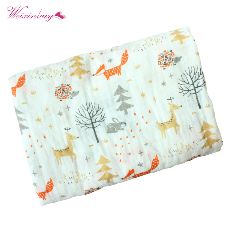 Spring Baby Cotton Blanket Cartoon Fox Print Infant Muslin Swaddle Newborn Baby Props Blankets Photography free shipping infant children cartoon thick coral cashmere blankets baby nap blanket baby quilt size is 110 135 cm t01 page 5