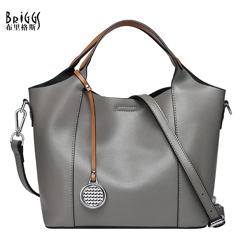 BRIGGS Designer Handbags High Quality Genuine Leather Bags Solid Casual Tote Luxury Handbags Women Bags Shoulder Bag Women luxury handbags women bags designer high quality leather women bag black big solid women shoulder bags large capacity tote bag