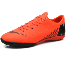 Купить с кэшбэком Indoor Men Soccer Shoes Sneakers Cheats Turf Male Football Shoes Rubber Soft Sole Zapatillas Mens Sport Trainers Shoes Foot Ball