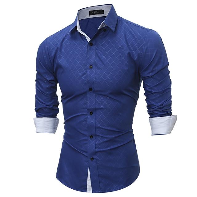 2016 Novos homens de manga Longa camisas de Algodão camisas Xadrez masculina Moda casual camisas dos homens slim fit camisa listrada dos homens
