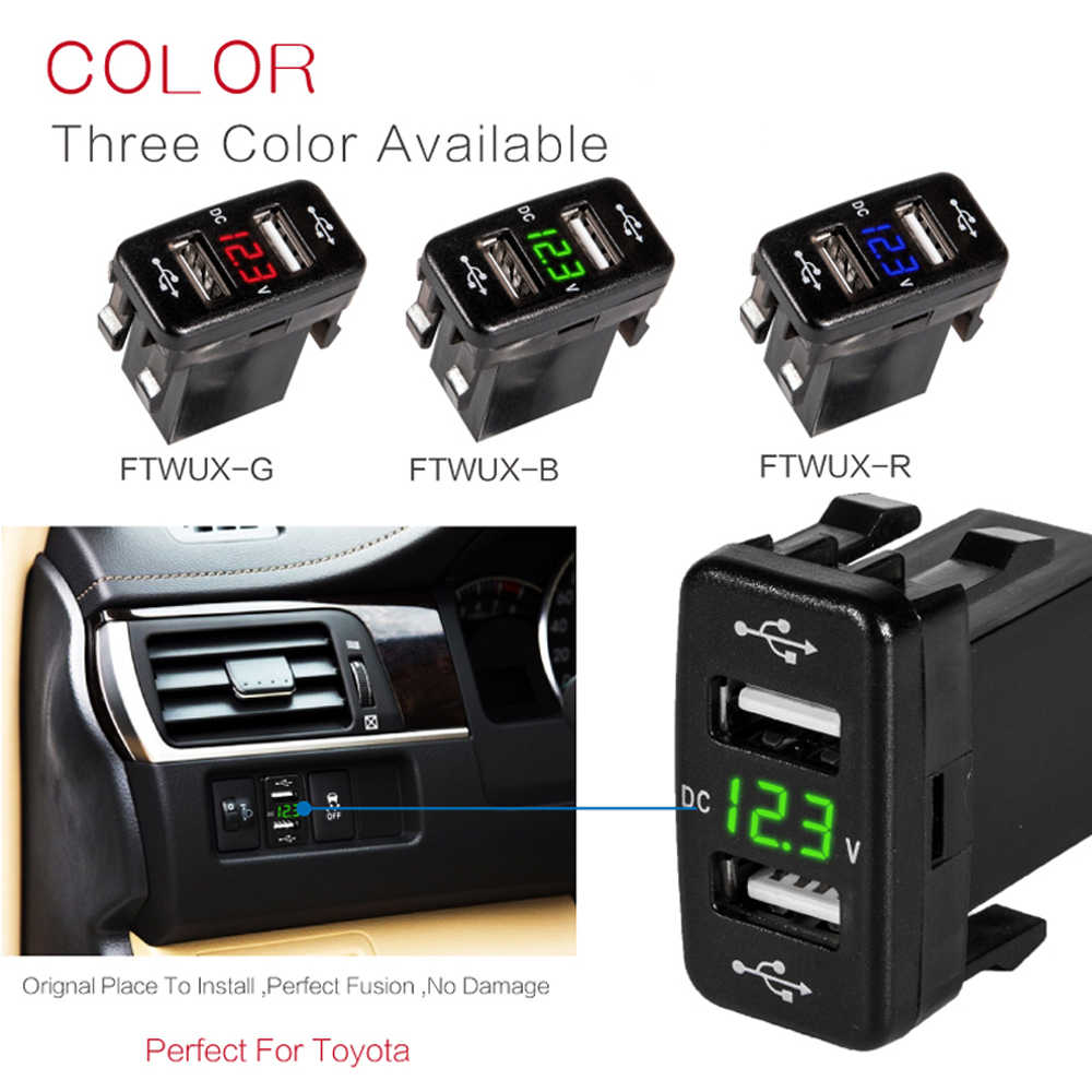 For Toyota 2 USB Car Socket Power DC 5V-24V Dual USB Port Car Charger Adapter with LED Digital Voltmeter Meter Display