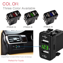 For Toyota 2 USB Car Socket Power DC 5V-24V Dual USB Port Car Charger Adapter with LED Digital Voltmeter Meter Display ev peak pj1 charger 1360w 60th digital adjustable dc power supply for high power charger with usb port 5 v 2 1a built in