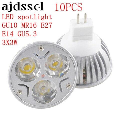 10 pcs lampada levou holofotes de alta potencia e27 gu10 e14 gu5 3 3x3 w