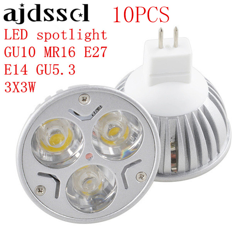 10PCS High Power Lampada <font><b>LED</b></font> spotlight <font><b>E27</b></font> GU10 E14 GU5.3 <font><b>led</b></font> <font><b>bulbs</b></font> Dimmable 3X3W <font><b>Led</b></font> Lamp light MR16DC <font><b>12V</b></font> Dimmable AC110V 220V image