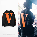 Kanye West Designer T-shirt 2016 Mens New Arrivals Vlone V Letter Printing Hip Hop Crewneck Long Sleeve Tops