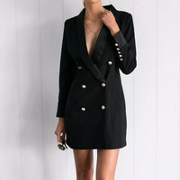 CD321 Fashion Full Sleeve Double Breasted Slim Long Blazer Women 2017 Solid New Stylish Office Notched
