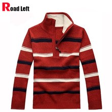 2017 Autumn/Winter Thickening Warm Jumper Men Casual Pullover Striped Collar Cashmere Knitting Sweaters Size M-3XL Free Shipping