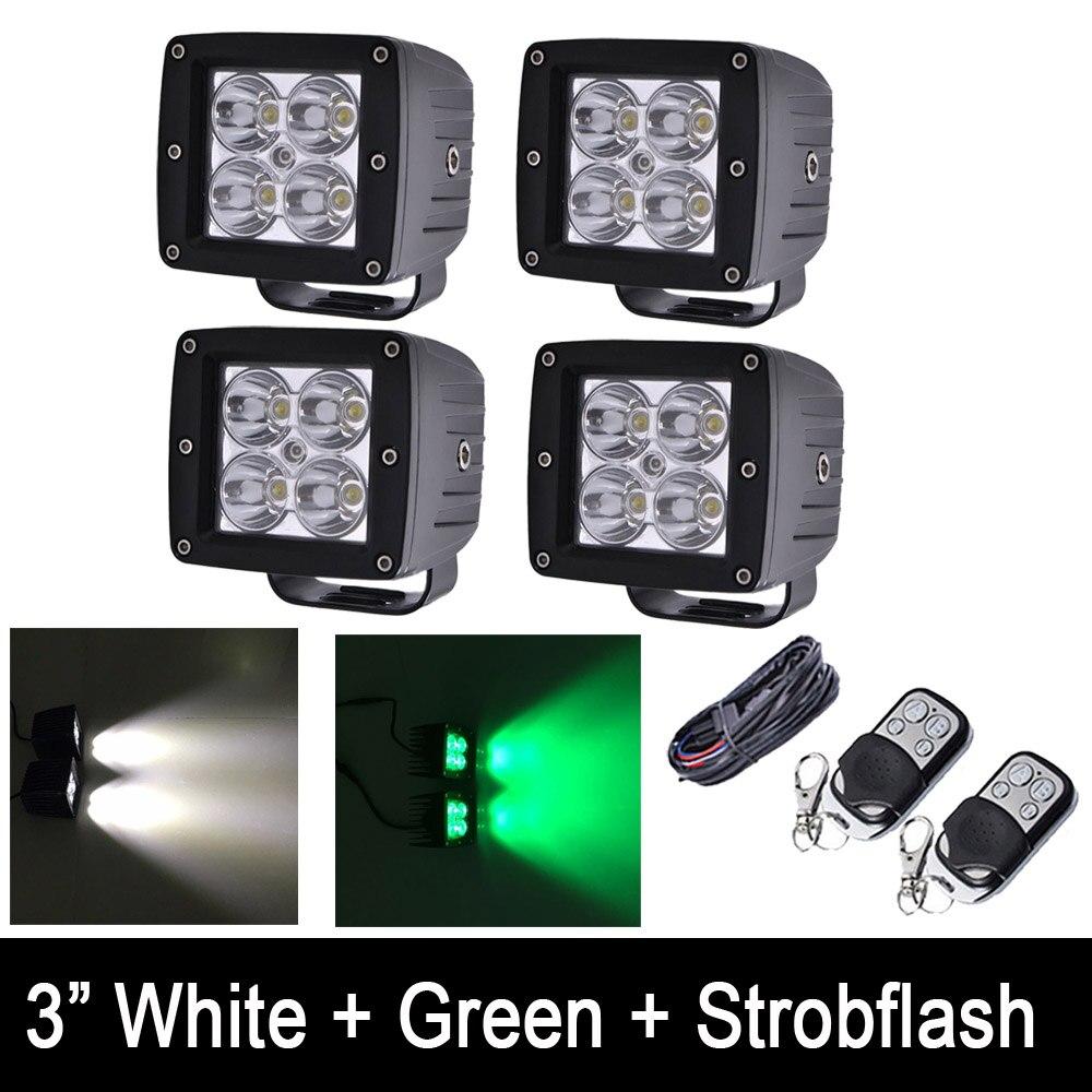 4 pièces/ensemble blanc vert Strobeflash LED travail barre lumineuse 3X3