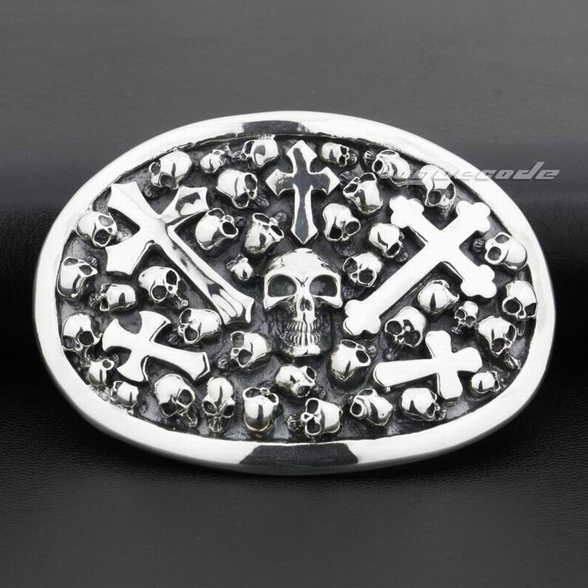 925 argent Sterling crâne croix hommes Biker ceinture boucle 9C005