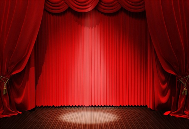Laeacco Red Curtain Spotlight Stage Child Play Portrait