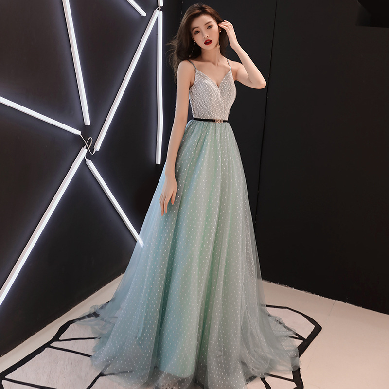 Beauty Emily Evening Dress Sexy Spaghetti Strap Wedding Formal Dress Elegant Lace Sashes Floor-length A-line Party Gowns