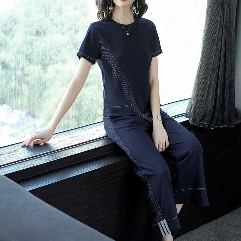 Summer new brand design European fashion short sleeves shirt top & wide-legged pants 2 pcs clothing set wome stripe blue suit