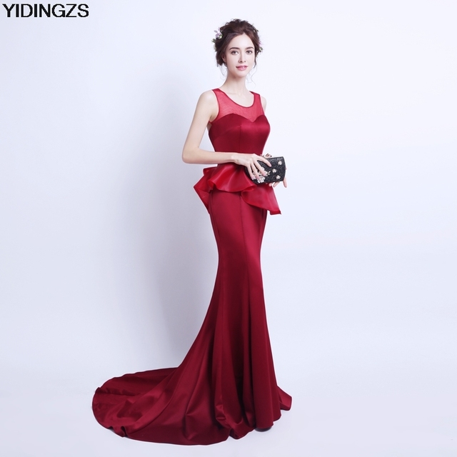 YIDINGZS Real Simple Fashion Evening Dress Mermaid Long Robe De Soiree Wine  Red Backless Party Prom 0484cd1d6633