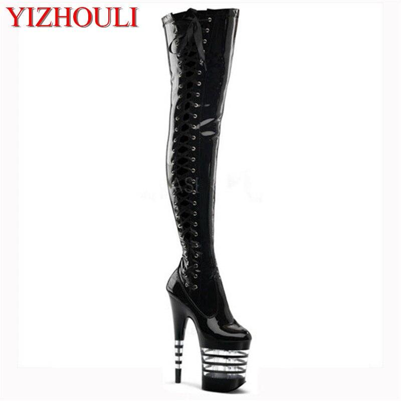 À Plate Au Femmes Chaussures Genou Haute 20 Haut Pistolet Mode Peinture Raie Bottes Lacets Noir Talon forme La Cm De Décoration taFtwWq78