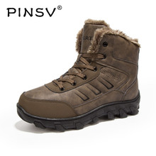 PINSV 2018 Men Winter Boots Warm Men's Genuine Leather Shoes Fur Lace-Up Snow Boots For Men Size 39-46