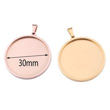 Reidgaller 5 pcs rose gold stainless steel round 30mm cabochon basis pengaturan diy liontin nampan kosong untuk membuat perhiasan(China)