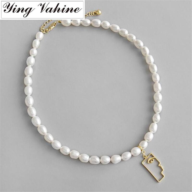 Ying Vahine collier en perles 925 Sterling Argent Baroque Perles D'eau Douce Or Abstraite Portrait Pendentif Collier pour les Femmes