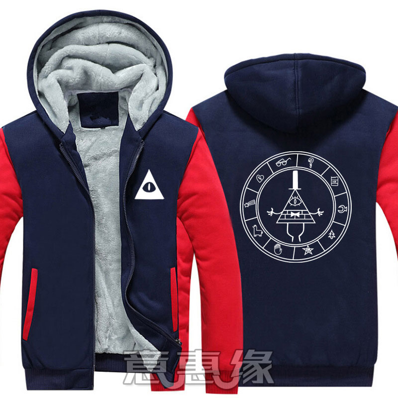 [STOCK] Gravity Falls Bill Cipher Cosplay Costume Jackets Coats Long Winter Zipper Coat Hooded Hoodie M-5XL For Halloween Free