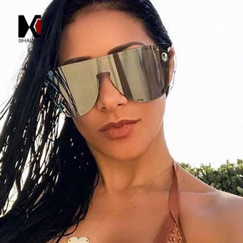 SHAUNA Schädel Kristall Dekoration Oversize Integrierten Objektiv Frauen Pilot Sonnenbrille Mode Männer Gradient Lens Shades UV400