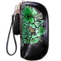 Cow Hide Genuine Leather Women Clutches Long Tassel Female Wallet Print Flower New Design Purse Zipper Leather Women Wallet