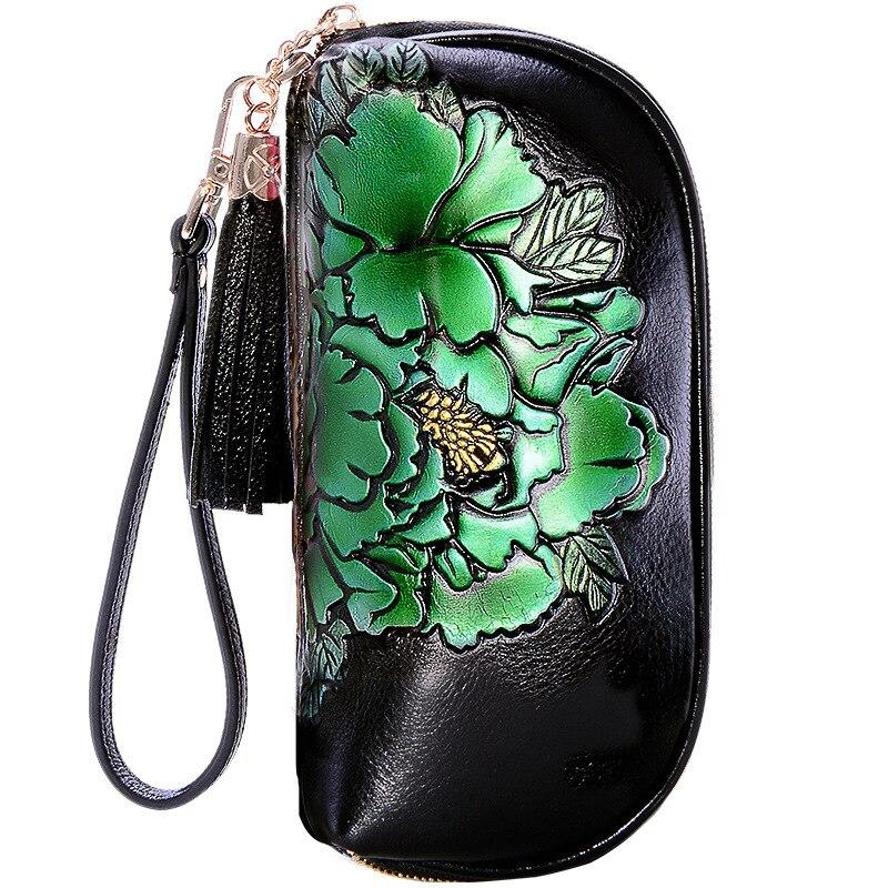 Cow Hide Genuine Leather Women Clutches Long Tassel Female Wallet Print Flower New Design Purse Zipper Leather Women Wallet цена 2017