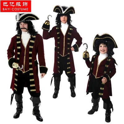 IREK hot Pirate Captain Halloween Costume Adult Children cosplay costume for carnival party top quality octagon yacht skipper captain sailor boat police sheriff hat cap party costume py
