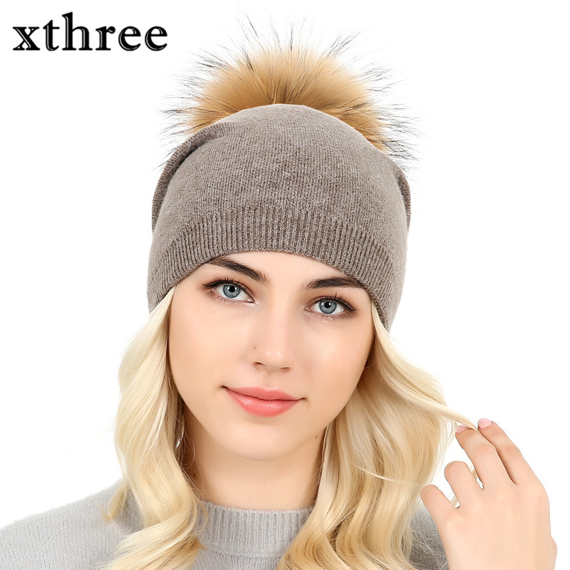 [Xthree]mink fur hats for women winter hat beanies cap for girl fur pom poms and wool knitted hat new thick female cap xthree real mink fur pom poms knitted hat ball beanies winter hat for women girl s hat skullies brand new thick female cap